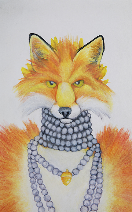 julie viens fox fur pearls necklace gold acorn watercolor pencil
