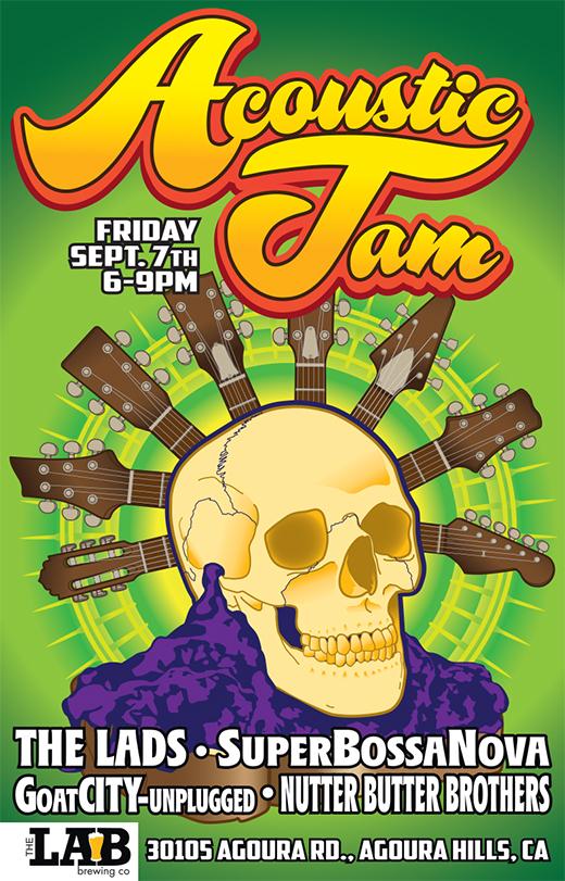 julie viens acoustic jam night guitar headstock skull poster