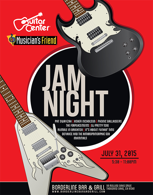 Guitar Center and Musician's Friend Jam Night Poster and Digital Graphics: July 2015