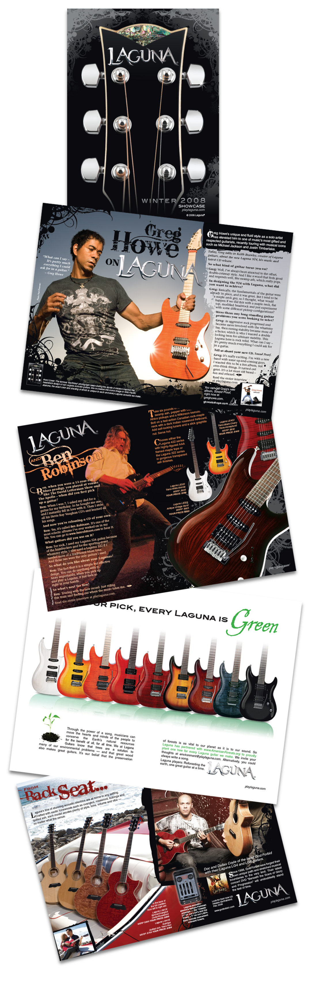 julie viens laguna guitars showcase booklet acoustic electric design layout art direction spreads cover