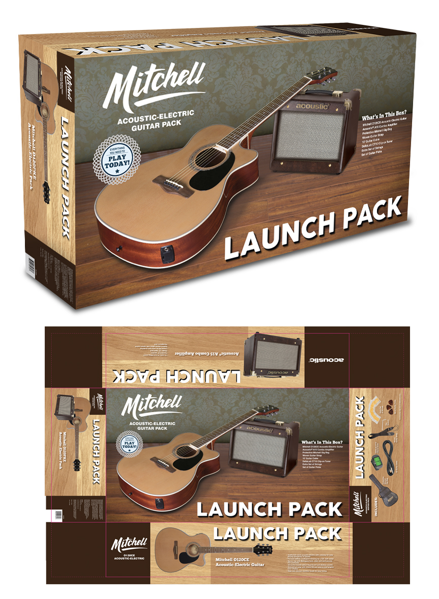 Mitchell Acoustic Launch Pack Acoustic Guitar Packaging