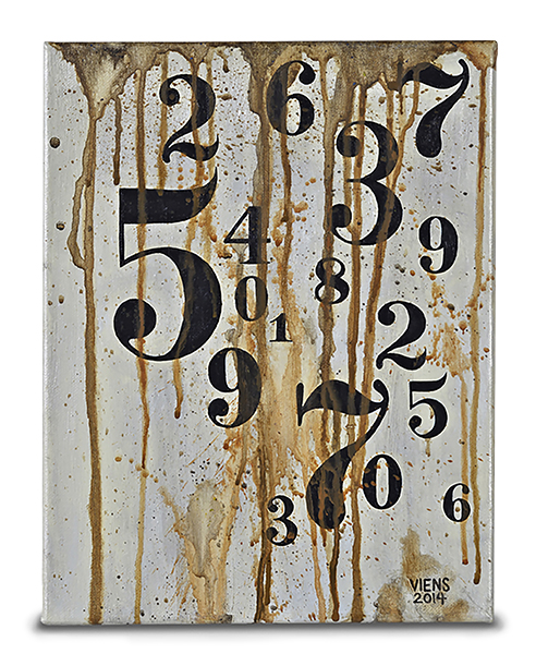 julie viens numeric values crude figures numbers distressed acrylic painting