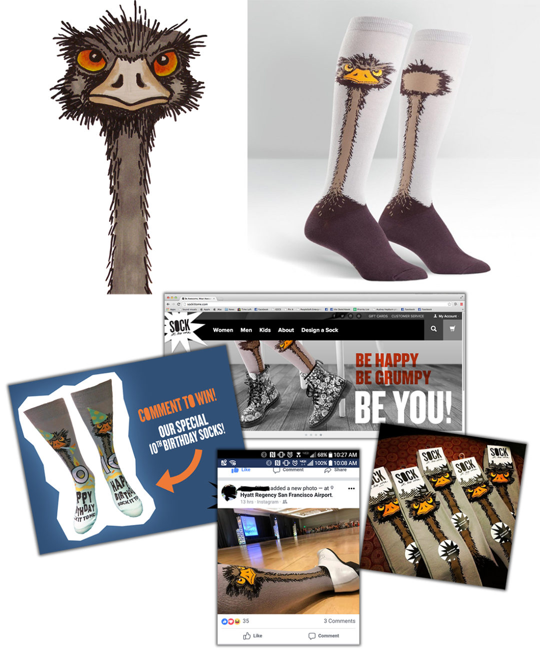 julie viens sock it to me design ostrich emu 2nd place