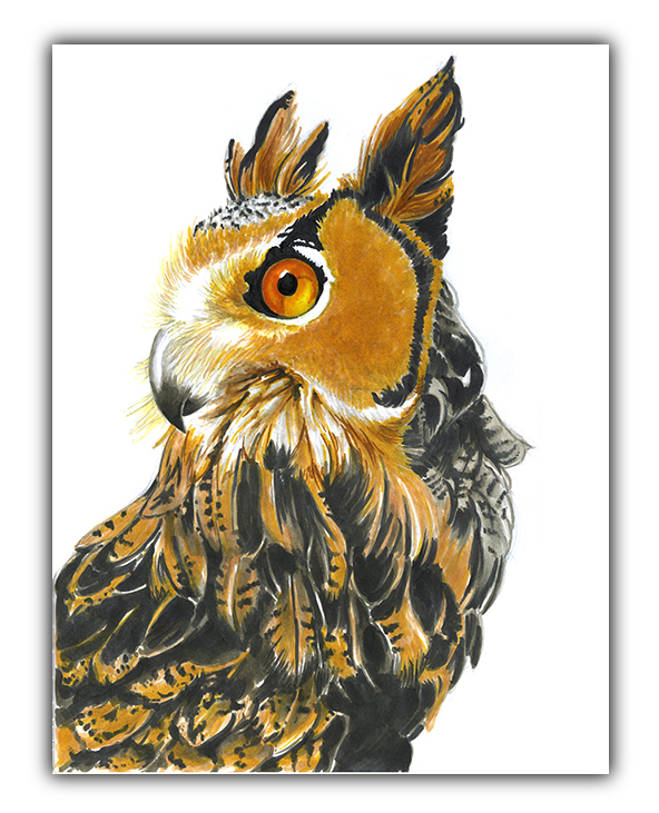 julie viens sentinel owl copic marker drawing
