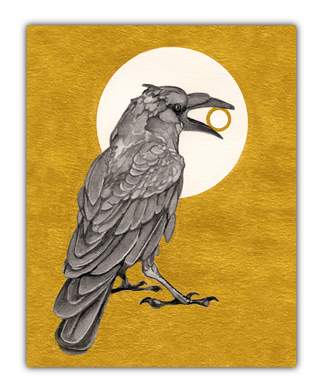 julie viens gouache precious raven crow gold ring