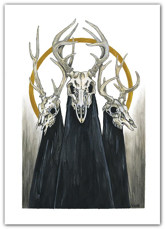 voices circle deer skull gold julie viens painting