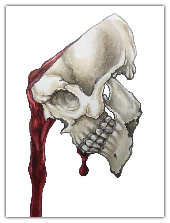 julie viens mindless skull inktober copic marker drawing