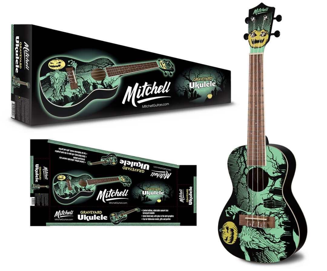 Mitchell Glow in the Dark Graveyard Ukulele and Packaging