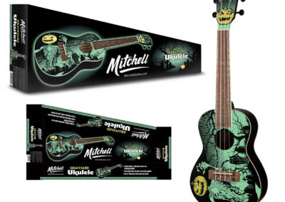 Mitchell: Glow-in-the-Dark Graveyard Ukulele and Packaging